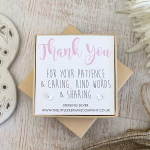 Sterling Silver Quote Earrings - 'Thank You For Your Patience'
