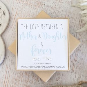 Sterling Silver Quote Earrings - 'The Love Between A Mother...'