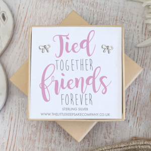 Sterling Silver Bow Quote Earrings - 'Tied Together, Friends Forever'