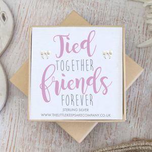 Sterling Silver Quote Earrings - 'Tied Together, Friends Forever'