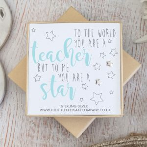 Sterling Silver Quote Earrings - 'To The World You Are A Teacher'