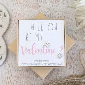 Sterling Silver Quote Earrings - 'Will You Be My Valentine'