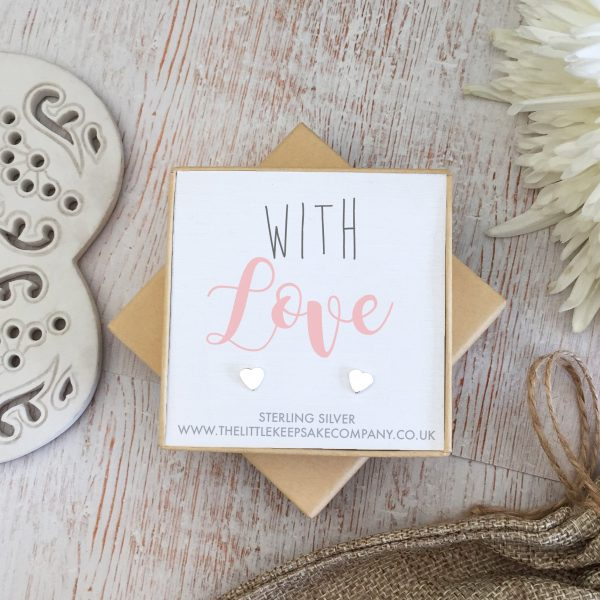 Sterling Silver Quote Earrings - 'With Love'