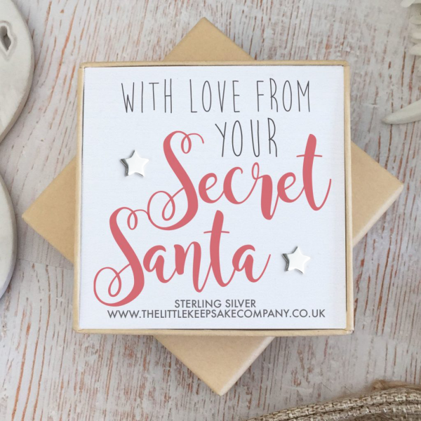 Sterling Silver Christmas Earrings - 'With Love From Your Secret Santa'