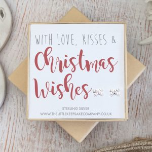 Sterling Silver Quote Earrings - 'With Love, Kisses & Christmas Wishes'