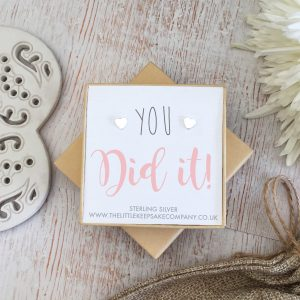 Sterling Silver Quote Earrings - 'You Did It'