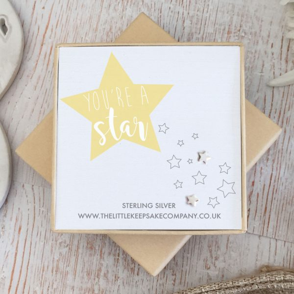 Sterling Silver Quote Earrings - 'You're a Star'