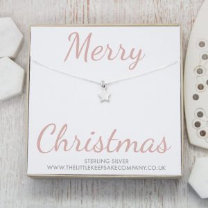 Sterling Silver Quote Necklace - 'Merry Christmas'