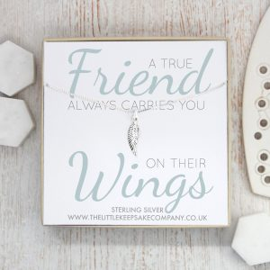 Sterling Silver Quote Necklace - 'A True Friend Always Carries You On Their Wings'