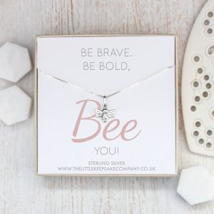 Sterling Silver Quote Necklace - 'Be Brave, Be Bold, Bee You'