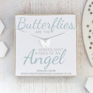 Sterling Silver Quote Necklace - 'Butterflies Are The Heaven Sent Kisses'