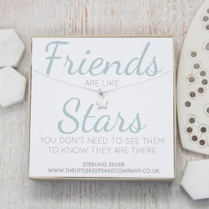 Sterling Silver Quote Necklace - 'Friends Are Like Stars'