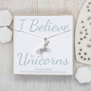 Sterling Silver Quote Necklace - 'I Believe In Unicorns'