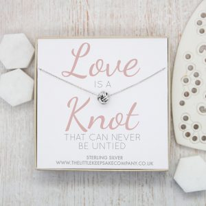 Sterling Silver Quote Necklace - 'Love Is A Knot That Cannot be Untied'
