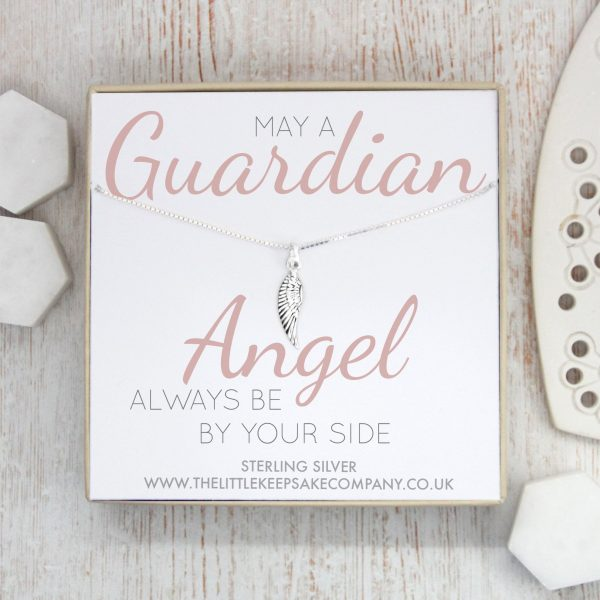 Sterling Silver Quote Necklace - 'May A Guardian Angel Always Be By Your Side'