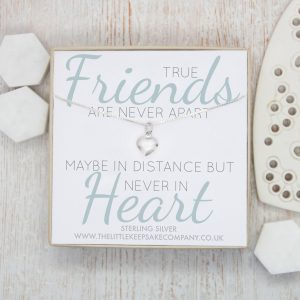 Sterling Silver Quote Necklace - 'True Friends Are Never Apart'