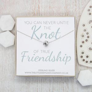 Sterling Silver Quote Necklace - 'You Can Never Untie The Knot Of True Friendship'
