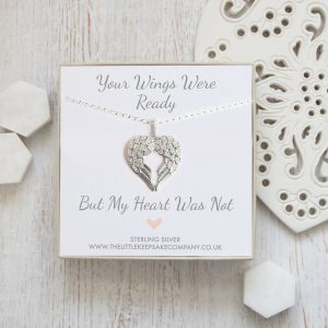 Sterling Silver Quote Necklace - 'Your Wings Were Ready'