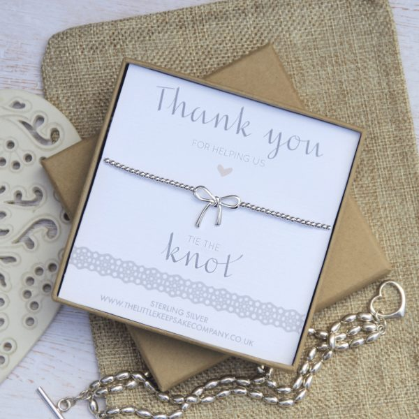 Sterling Silver Wedding Bow Bracelet - 'Thank You For Helping Us Tie The Knot'
