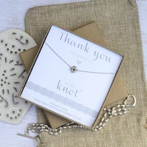 Sterling Silver Wedding Necklace - 'Thank You For Helping Us Tie The Knot'