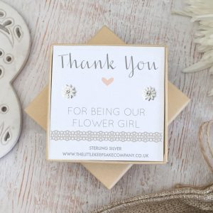 Sterling Silver Wedding Quote Earrings - 'Thank You For Being Our Flower Girl'