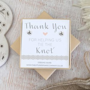 Sterling Silver Wedding Quote Earrings - 'Thank You For Helping Us Tie The Knot'