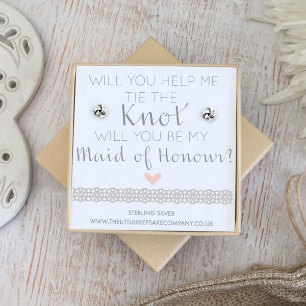Sterling Silver Wedding Quote Earrings - 'Will You Help Me Tie The Knot, Will You Be My Maid Of Honour?'