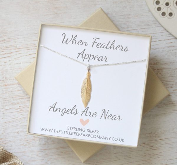 Sterling Silver 'When Feathers Appear' Medium Gold Necklace