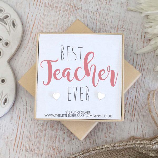 Sterling Silver Heart Quote Earrings - 'Best Teacher Ever'