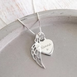 Sterling Silver Engraved Memorial Necklace
