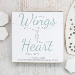 Sterling Silver Quote Necklace - 'Your Wings Were Ready But My Heart Was Not'