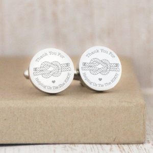 'Thank You For Helping Us Tie The Knot' Engraved Cufflinks