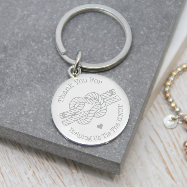 'Thank You For Helping Us Tie The Knot' Engraved Keyring