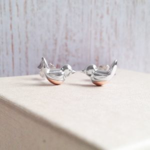 'When Robins Appear' Sterling Silver & Rose Gold Vermeil Robin Earrings