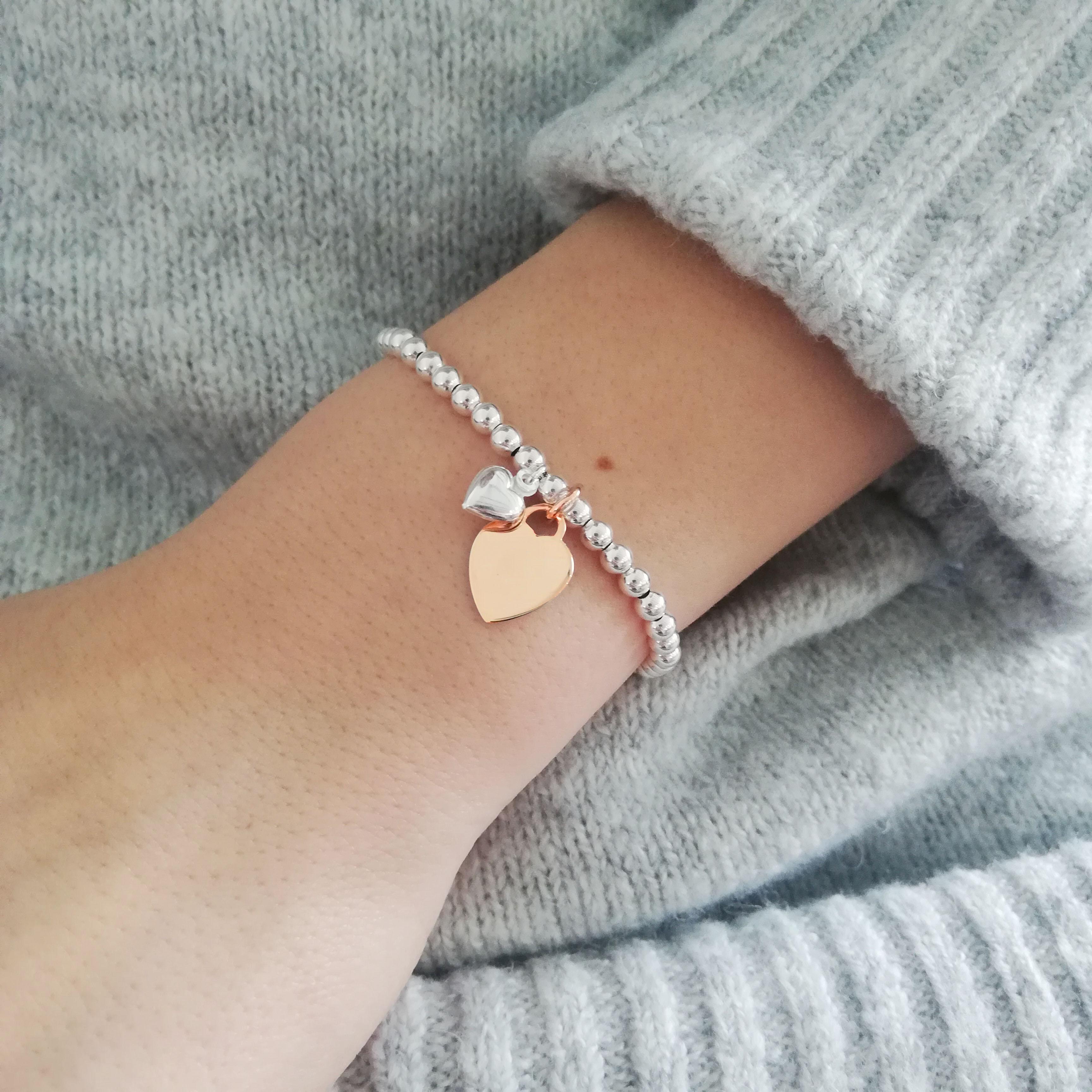 Rose Gold Vermeil Ball Slider Bracelet With Engraved Rose Gold Heart Charm