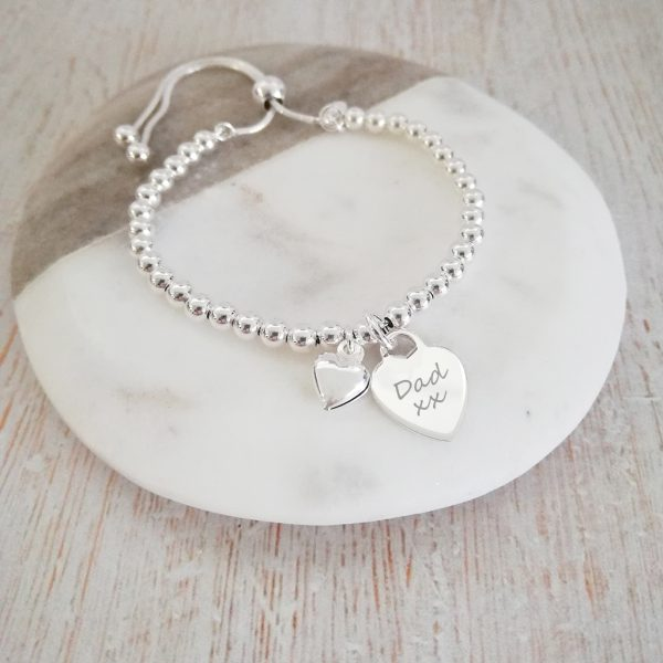 Sterling Silver Ball Slider Bracelet - With Engraved Silver Heart Charm