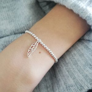 Sterling Silver Ball Slider Bracelet - Silver Cut Out Wing