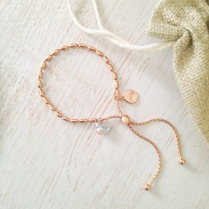 Baby Robin 'When Robins Appear' Rose Gold Vermeil Seed Slider Bracelet