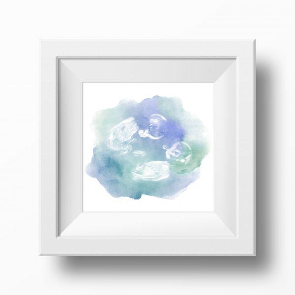 Blue & Green Twin Baby Scan Watercolour Print