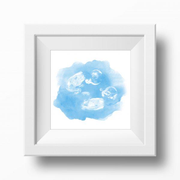 Blue Twin Baby Scan Watercolour Print