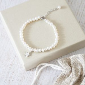 Childrens Pearl Bracelet With Dinky Initial
