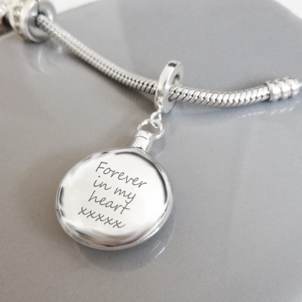 Sterling Silver Engraved Circle Urn Charm