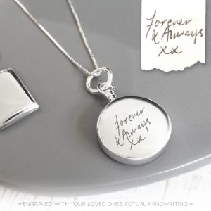 Sterling Silver Handwriting Circle Urn Necklace