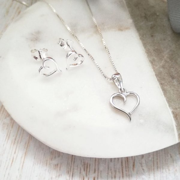 Sterling Silver Cut Out Heart Gift Set