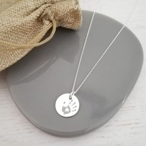 Sterling Silver Engraved Handprint Disc Necklace