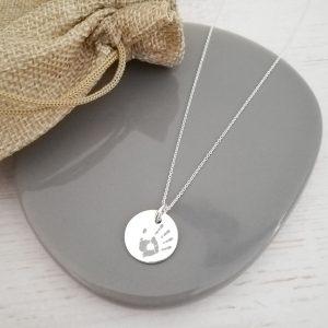 Sterling Silver Engraved Handprint Disc Necklace