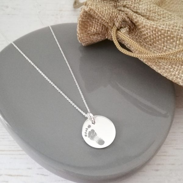 Sterling Silver Engraved Footprint Disc Necklace