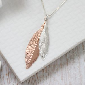 Duo Medium Silver & Large Rose Gold Feathers Necklace