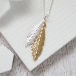 Duo Medium Silver & Large Yellow Gold Feathers Necklace