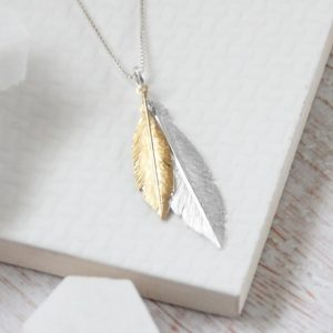 Duo Medium Yellow Gold & Large Silver Feathers Necklace
